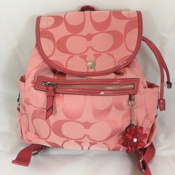 Coach Handbags - COACH Kyra Signature C Daisy Backpack Purse Pink